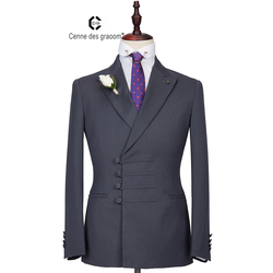 2020 Cenne Des Graoom New Men Suit Jacket+Pants Latest Designs Double Breasted Two Pieces Slim Fit Wedding Casual Groom DG-96-8