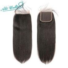 Ali Grace 5x5 Кружева Закрытие прямые человеческие накладные волосы с детскими волосами средние коричневый швейцарские Цвет закрытие бразильские волосы