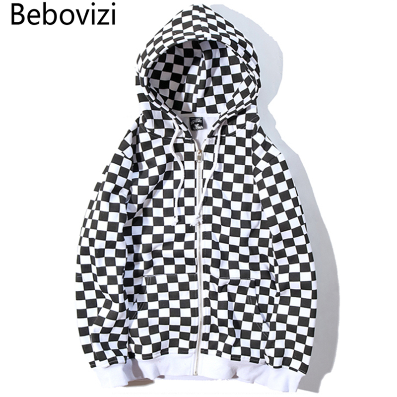 Bebovizi Mens Harajuku Hip Hop Zip Up Hoodie Sweatshirt Black White Checkerboard Plaid Hoodie Streetwear Fleece Hooded Hipster