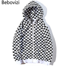Bebovizi Mens Harajuku Hip Hop Zip Up Hoodie Sweatshirt Black White Checkerboard Plaid Streetwear Fleece Hooded Hipster