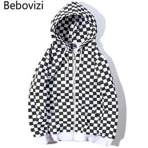 Image 1 - Bebovizi Mens Harajuku היפ הופ לרכוס קפוצ ון סווטשירט שחור לבן שחמט משובץ הסווטשרט Streetwear צמר ברדס הברנש