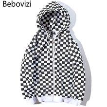 Bebovizi Sudadera con capucha para hombre, estilo Harajuku Hip Hop con cremallera, en negro y blanco, a cuadros, ropa de calle, Hipster con capucha de lana