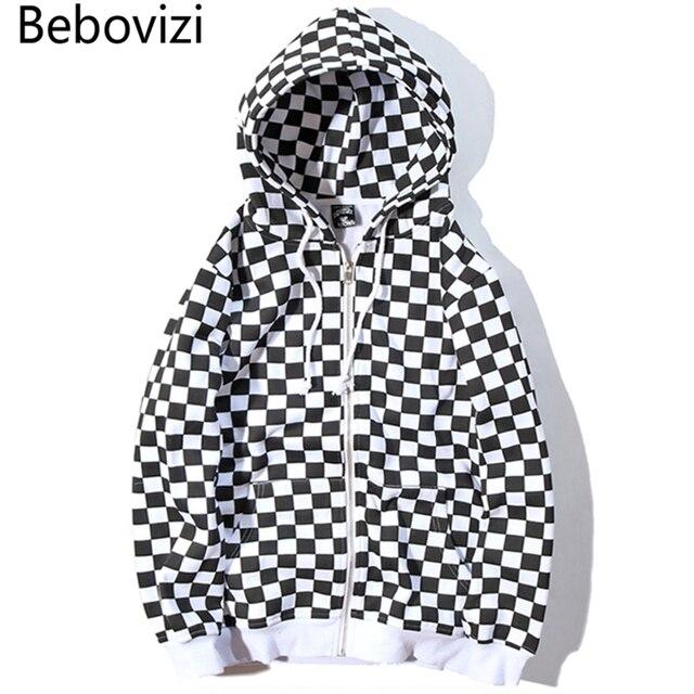 Мужская толстовка на молнии Bebovizi в стиле Харадзюку, черно белая клетчатая толстовка с капюшоном, уличная флисовая хипстерская толстовка с капюшоном