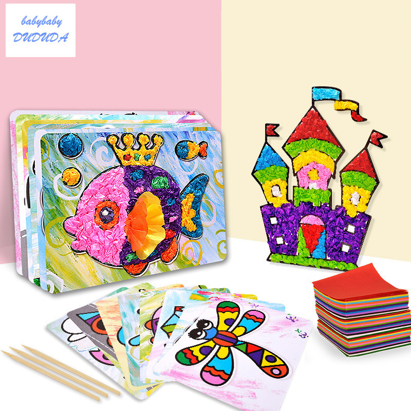NEW Creative Rubbing Paper Painting Handmade Material Bag For Children DIY Sticker Toys Kindergarten Gifts Sticky Paper Painting