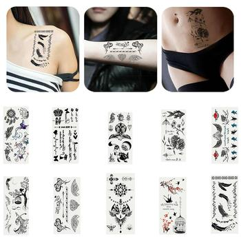 2 Sheets Rose Feather Letter Butterfly Temporary Tattoo Hand Body Art Sticker Give a cool and fashionable look for your hand. image