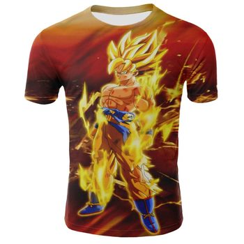 Summer 3D printing dragon ball t-shirt men and women round neck short sleeve fashion Harajuku style t-shirt round neck union jack print short sleeve men s t shirt