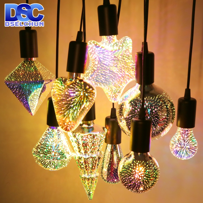 3D Decoration LED Light Bulb E27 6W 85-265V Vintage Star Fireworks Edison Bulb Lamp Holiday Night Light Novelty Christmas Tree