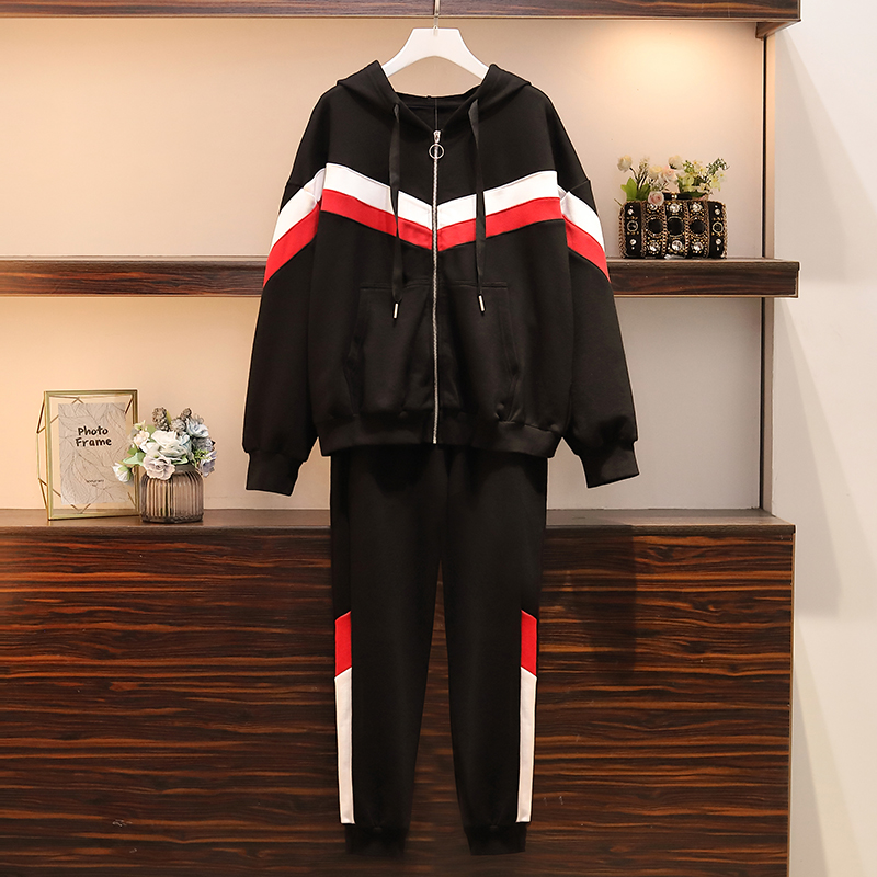 Winter 2019 New Black Top And Pants Two Piece Outfits Plus Size Joggers Women Tracksuits Sweat Suits Women Lounge Wear