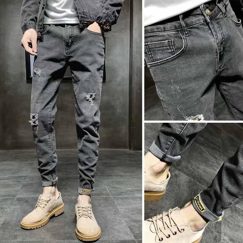 Pantalones Vaqueros Ajustados De Moda Hip Hop Street Cargo Para Hombre Y Adolescente Desgastados De Algodon Antihierro Rasgados Color Gris Oscuro 2020 Pantalones Vaqueros Aliexpress