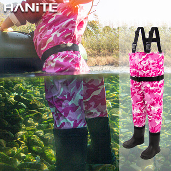 HANITE kids chest wader for water and muddy playing, child waterproof and breathable wader with boots, toddler wader for fishing