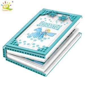 Image 4 - Huiqibao 575Pcs Snow Queen Magische Boek Bouwstenen Speelgoed Meisje Vrienden Palace Ice Kasteel Prinses Cijfers Bricks Kinderen Geschenken speelgoed
