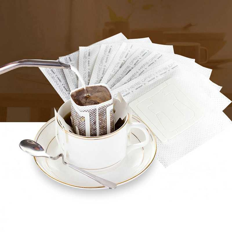 200 Pcs แบบพกพาหยดผงกาแฟตัวกรองกระดาษแขวนหูหยดถุงกรอง