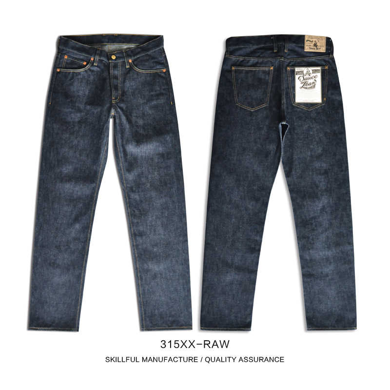 Saucezhan 315XX-RAW Mens Taper Jeans Jean Zelfkant Heren Jeans Merk Raw Denim Mannen Jeans Unsanforized Denim Zelfkant Denim