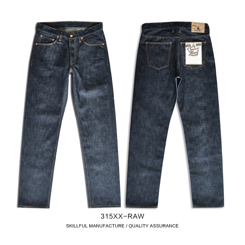 SauceZhan 315XX-RAW Mens Taper Jeans Jean Selvedge Mens Jeans Brand Raw Denim Men Jeans Unsanforized Denim Selvedge Denim