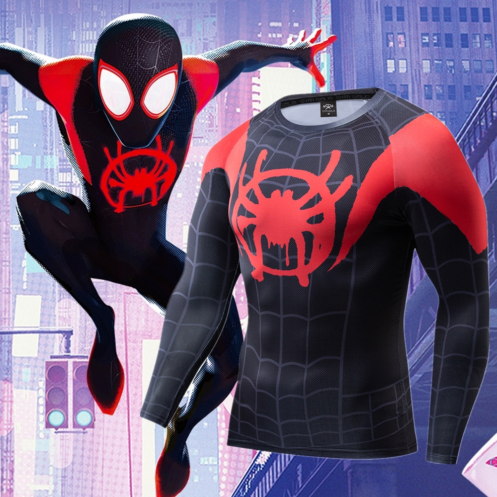 Spiderman Into The Spiderverse Miles Morales Cosplay Premium 3D Printed Costume Compression T-shirt Finess Gym Quick-Drying Tops