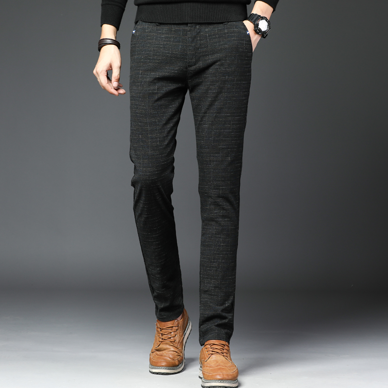 Brand Pants Straight Long-Trousers Gray Elastic Male Men's Large-Size Casual Cotton Autumn