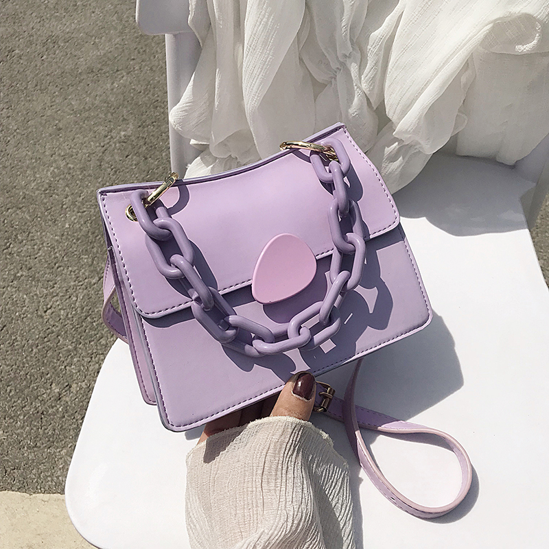 Candy Color Thick Chain PU Leather Crossbody Bags For Women 2020 Elegant Shoulder Handbags Female Travel Cross Body Bag