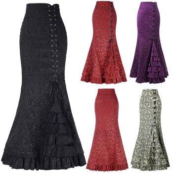 Long Skirts For Women Ladies Punk Style Retro Mermaid Skirt Vintage Long Bodycon Ruffle Fishtail Skirt faldas mujer moda 2021 retro style women s lace splicing fishtail skirt