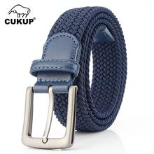 CUKUP Unisex High Quality New Knitted Canvas Elastic Belt Pin Styles Buckle Metal Jeans Accessories for Men Multicolor CBCK141