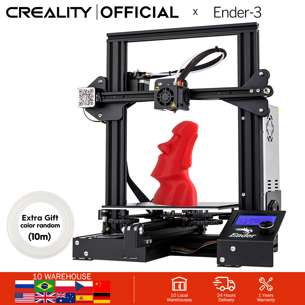 CREALITY 3D Ender-3 Large Print Size 220*220*250mm Prusa 3D Printer Kit Heated Bed Resume Power Off