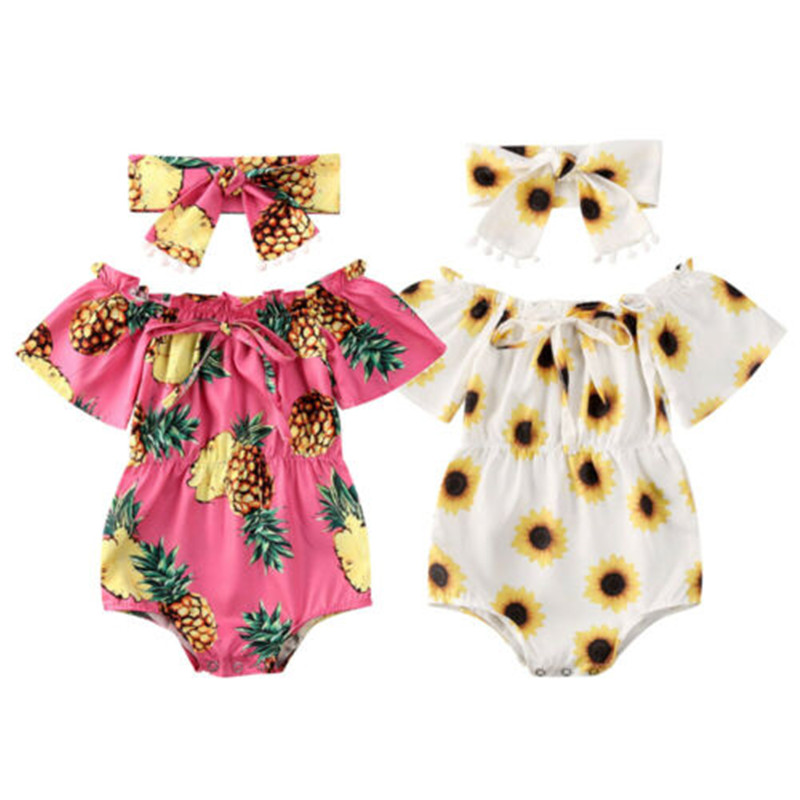2020 2PCS Baby Summer Clothing Newborn Baby Girl Flower Clothes Off Shoulder Bodysuit Headband Pineapple Sunflower Outfits Set