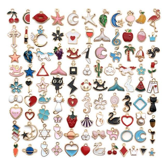 Cute Mixed 10/20pcs Enamel Unicorn Animal Birds Tree Charms Pendants DIY Handmade Neacklace Bracelet Jewelry Making Accessaries