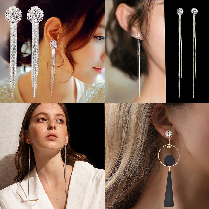 Fashion 2020 New Tassel Earrings Women Gold Silver Color High-Grade Elegant Crystal Rhinestone Earring Luxury Wedding Jewelry