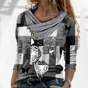 Commuting Style Casual Cat Printing Blouse Women Cross V-neck Buttons Long Sleeve Top Women Vintage Plus Size Tops Рубашка 2021 1