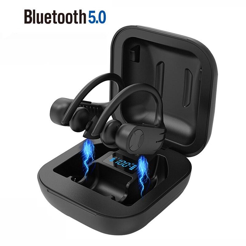 Fones de ouvido b1 esportivos sem fio tws, fones de ouvido com gancho de orelha, bluetooth 5.0, estéreo com cancelamento de ruído de funcionamento, à prova d' água ipx5