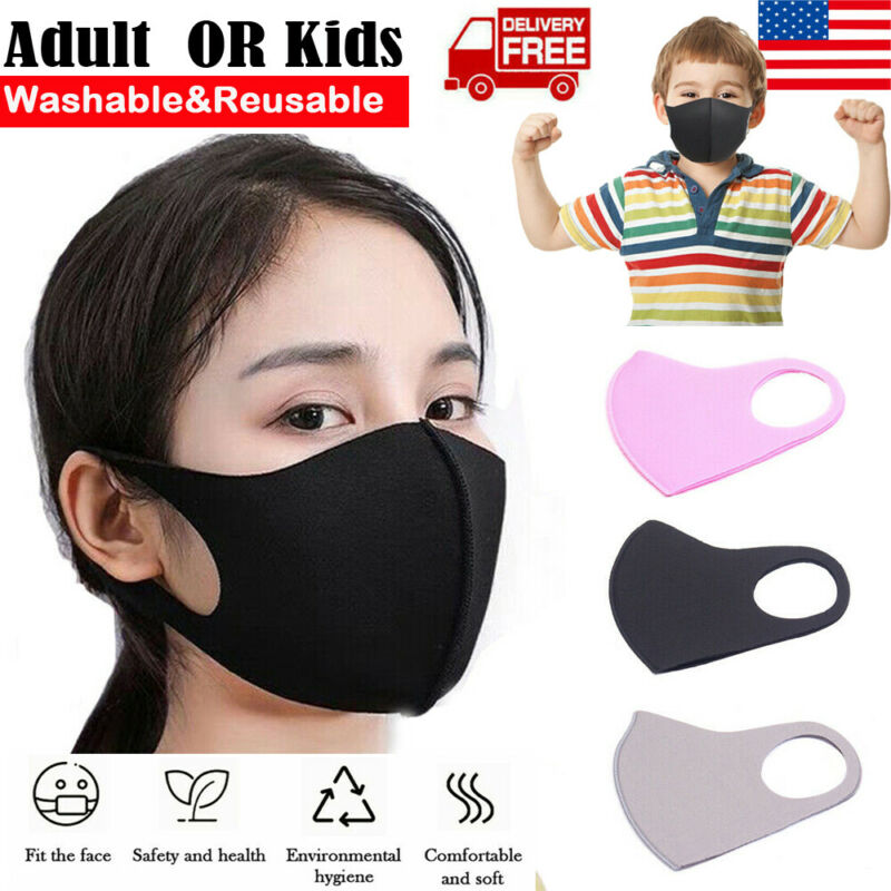 1Pcs Unisex Adult/Kids Face Mask Reusable Anti Dust Pollution Breathable Mouth Maks Protect