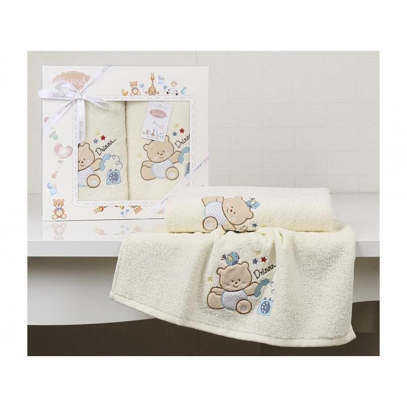 Towel Set KARNA, BAMBINO, BEAR, cream, 2 Subject towel set karna bale dark yellow 4 subject