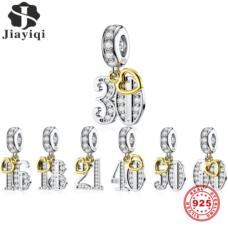 Jiayiqi Special Significance Digital Charms 925 Sterling Silver CZ Beads Fit Women Pandora Charms Bracelets DIY Jewelry Making