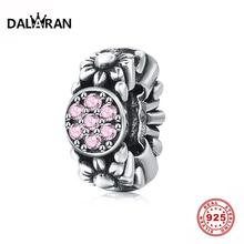 DALARAN 925 Sterling Silver Clear CZ Pink Flower Spacer Bead Fit DIY Bracelet Original Charms Women Jewelry Gift
