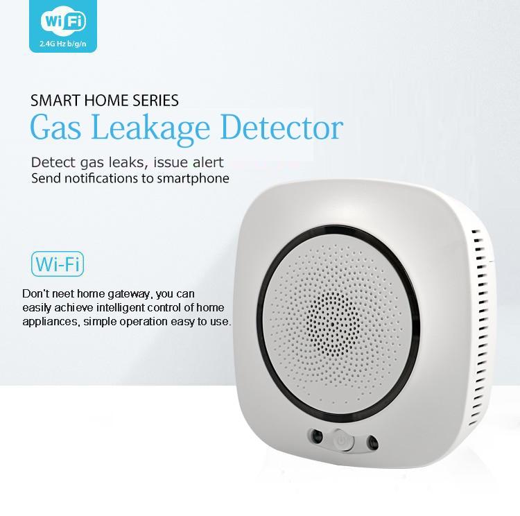 Tuya Gas Leak Detector Sensor Smart Life WiFi Wilreless Standalone Alexa Google Compatible Battery Powered Home Alarm Security