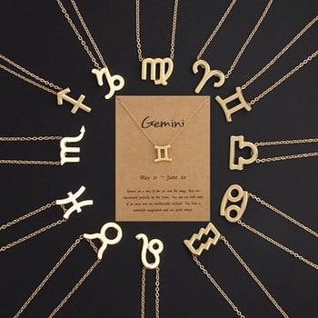 Collier zodiaque or femmes mod les 12 constellation leo b lier collier pendentif mode collier pour