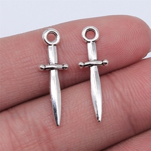 WYSIWYG 20pcs 24x8mm Antique Silver Color Sword Charms Pendant For Jewelry Making DIY Jewelry Findings