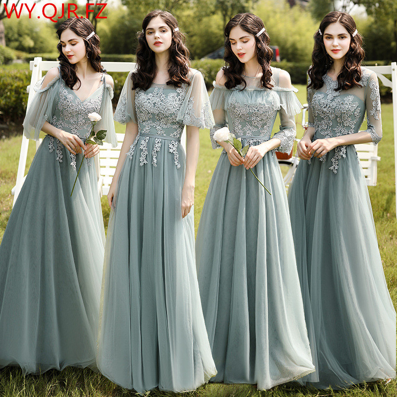 HJZY-H95#Long Bridesmaid Dresses Wedding Party Prom Dress Lace Embroidery Wholesale Women Clothing Graduation Gown 4 Styles Girl