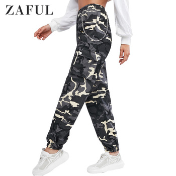 ZAFUL Women Solid Chain Flap Pockets Jogger Pants High Waisted Chains Camouflage Cargo Pants Hot Sale 2019 Fashion Girls фото
