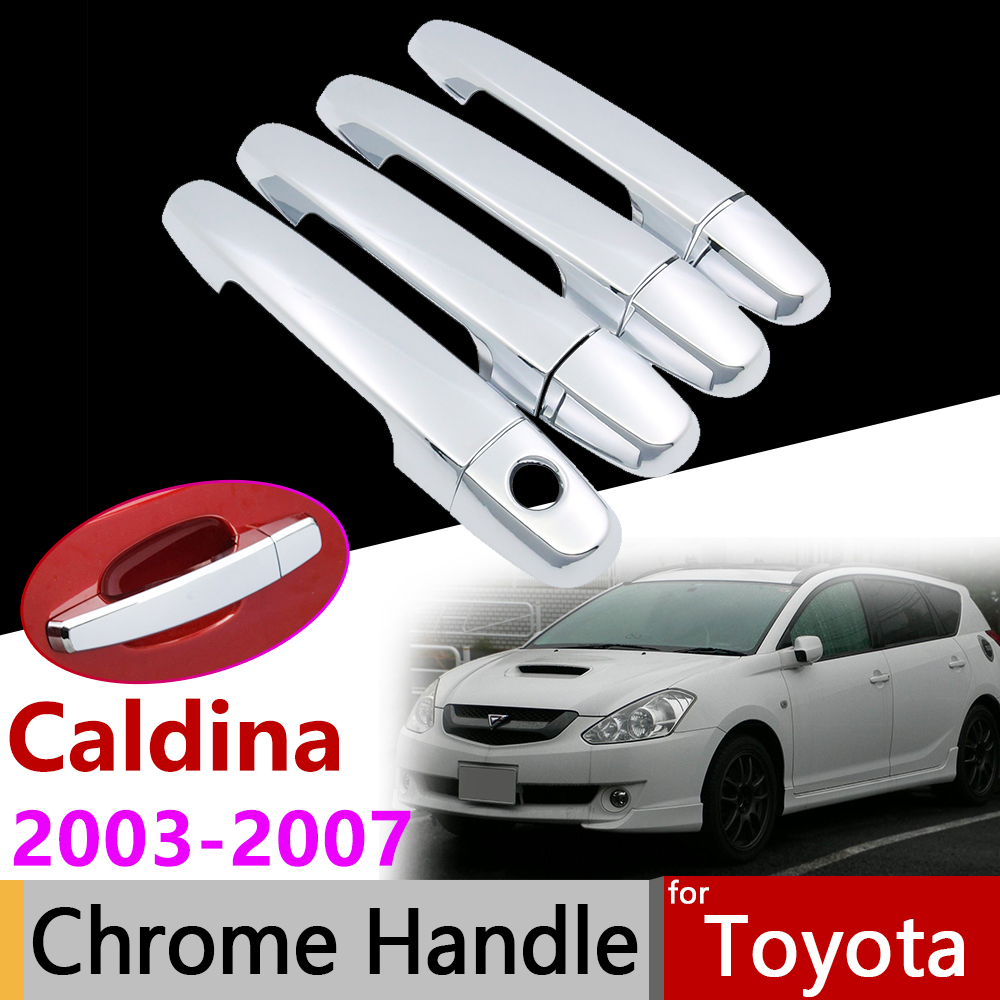 Car Accessories Exterior Door Chrome Handle Cover For Toyota Caldina T240 2003~2007 2004 2005 2006 Trim Set Of 4Door Stickers