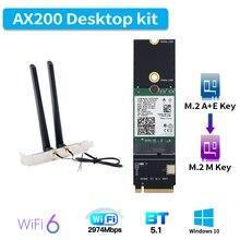 3000Mbps 802.11ax M.2 A + E anahtar WiFi 6 Intel AX200 kart M.2 M anahtar NVMe SSD portu kablosuz adaptör Wifi Bluetooth 5.1 Windows 10