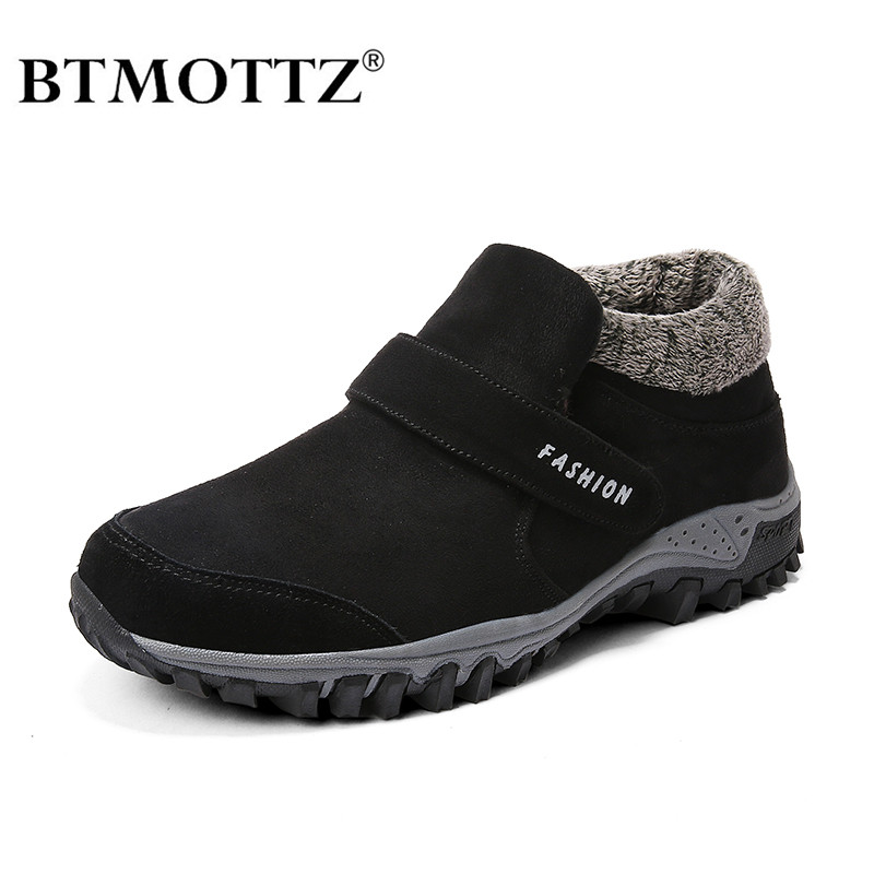 BTMOTTZ Winter Men Boots Outdoor Warm Fur Snow Boots Adult Winter Work Safety Shoes Men Fashion Suede Leather Rubber Ankle Boots
