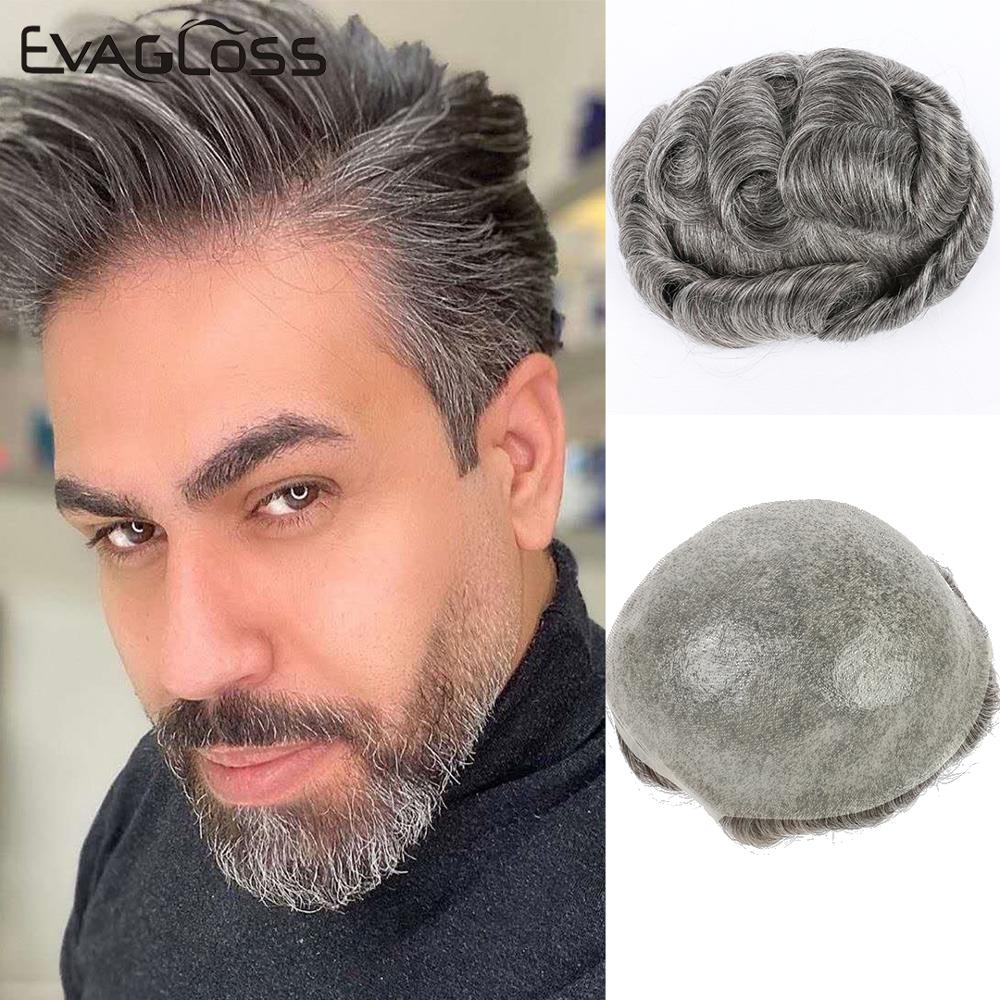 EVAGLOSS 0.02-0.04mm Super Thin Skin Men Hair Wig Natural Human Hair Toupee 8*10