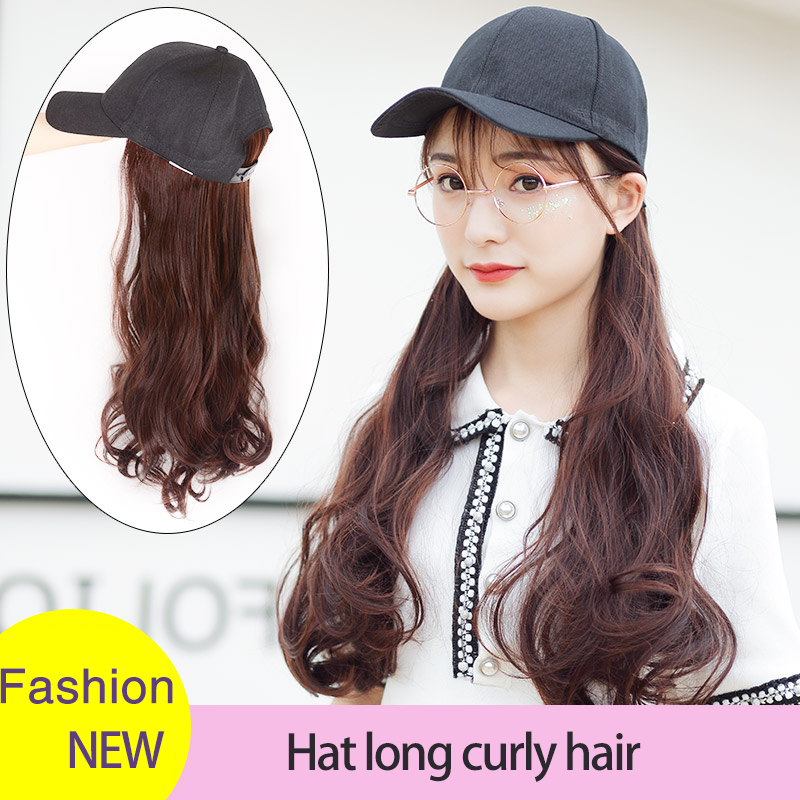 MUMUPI Hair 24 Inch Long Wavy/straight Synthetic Hair Wig With Hat Hot Style Black Color For Women High Temperature