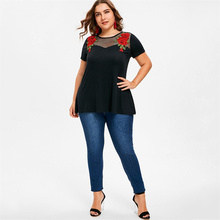 Plus Size Fashion Women Tshirt Mesh Hollow Out Summer Casual Ladies Tops Tees Short Sleeve Floral Embroidered Female Tee Shirt недорого