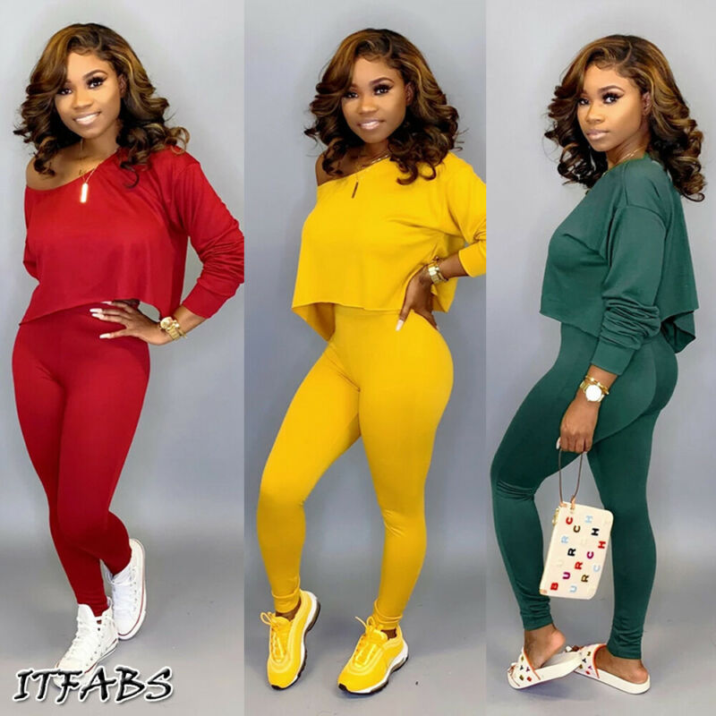 Running Set 2Pcs Women Sportswear Spandex Solid Loose Crop Long Sleeve Pullover Sports Top + Long Pants two piece set
