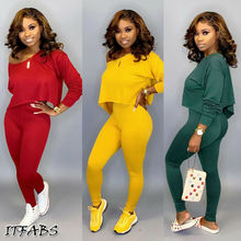 Running Set 2Pcs Women Sportswear Spandex Solid Loose Crop Long Sleeve Pullover