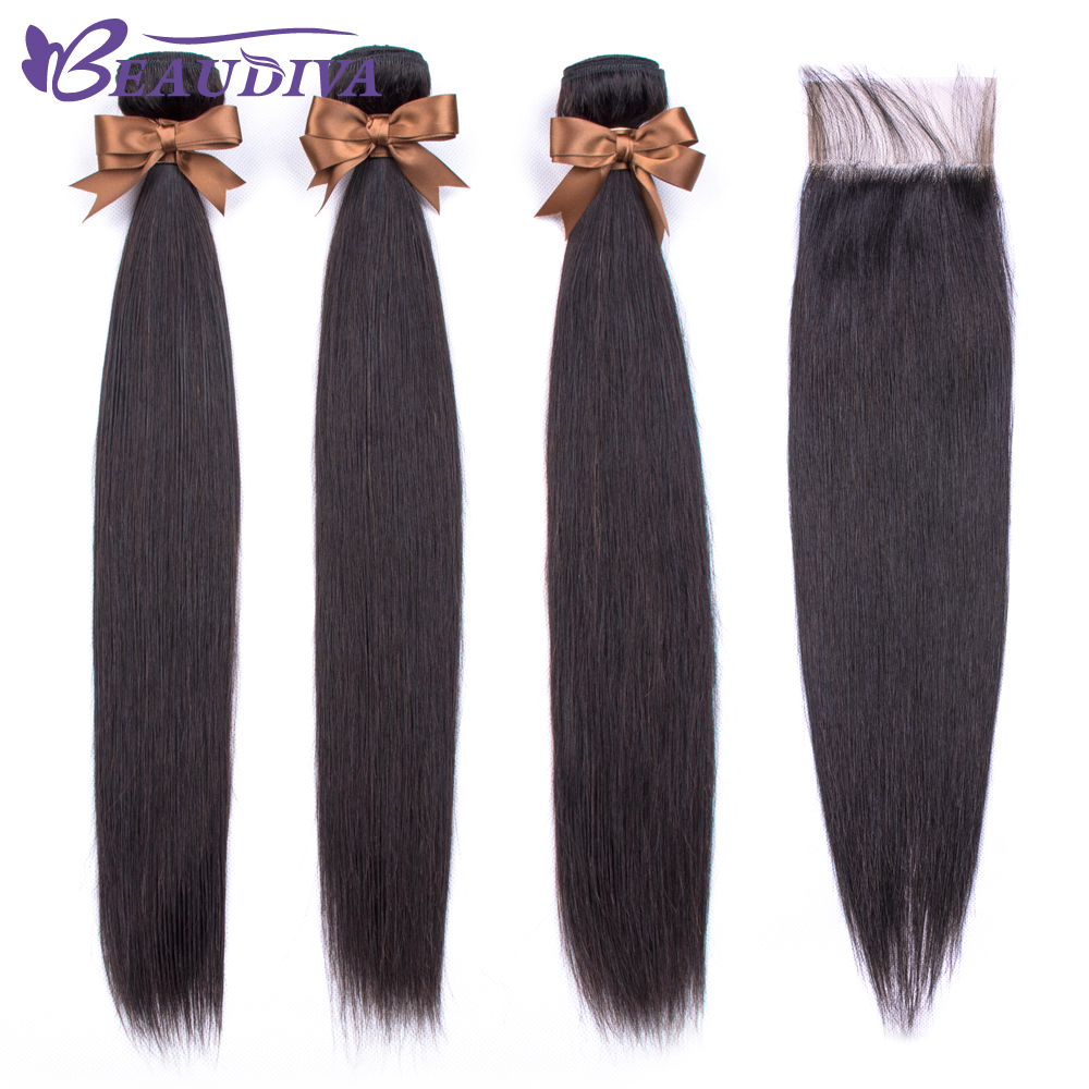 Beaudiva Hair Bundles With Closure Brazilian Straight Hair Weave Bundles With Closure Human Hair Bundles With Closure Remy Hair-in 3/4 Bundles with Closure from Hair Extensions & Wigs    1