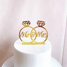 Anel de ouro casamento acrílico bolo topper flor