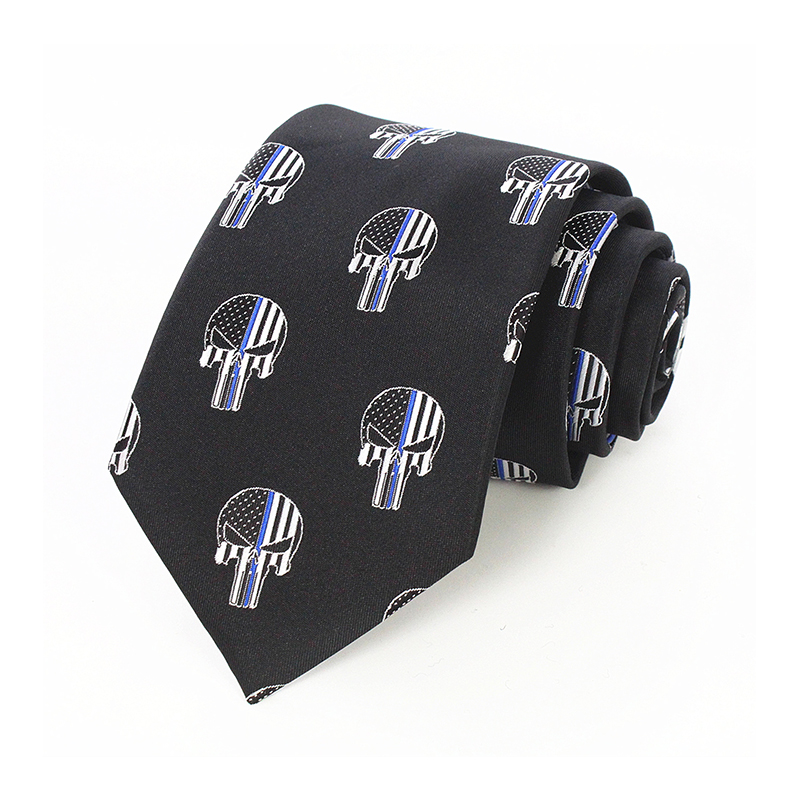 JEMYGINS Original Thin Blue Line Skull Tie For American USA Police Mens 100% Silk Hand Made New Design Necktie