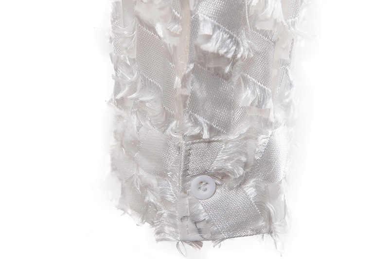 가짜 깃털 검은 섹시한 셔츠 남자 2020 슬림 맞는 긴 소매 Clubwear 망 드레스 셔츠 파티 무도회 사회 셔츠 Chemise 옴므 3XL